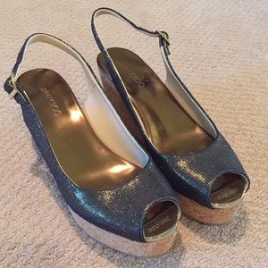 Size 39 1/2 denim/gold Jimmy Choo wedges